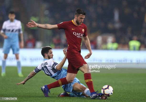 Serie A Luis Alberto of Lazio and Bryan Cristante of Roma at Olimpico Stadium in Rome Italy on March 2 2019