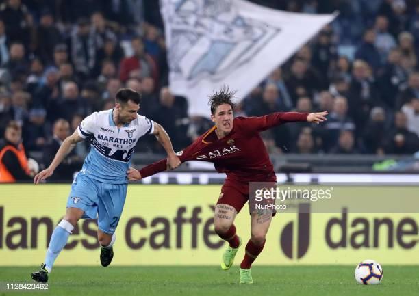Serie A Niccolo Zaniolo of Roma and Stefan Radu of Lazio at Olimpico Stadium in Rome Italy on March 2 2019