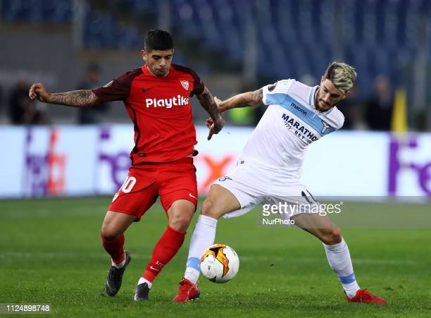 UEFA Europa League Round of 32 Ever Banega of Sevilla and Luis Alberto of Lazio at Olimpico Stadium in Rome Italy on February 14 2019