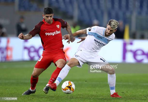 UEFA Europa League Round of 32 Ever Banega of Sevilla and Luis Alberto of Lazio at Olimpico Stadium in Rome Italy on February 14 2019