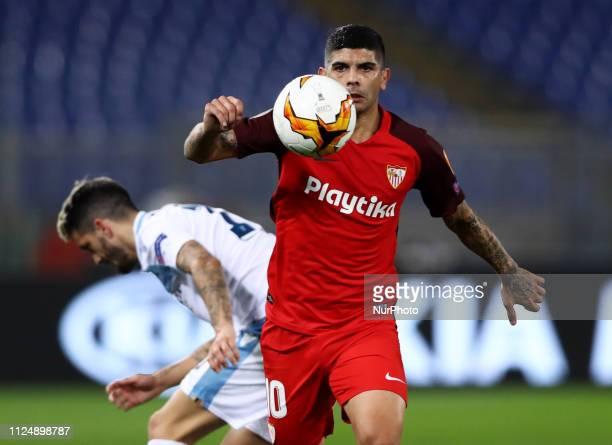 UEFA Europa League Round of 32 Ever Banega of Sevilla at Olimpico Stadium in Rome Italy on February 14 2019