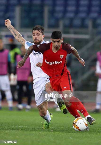 UEFA Europa League Round of 32 Francesco Acerbi of Lazio and Ever Banega of Sevilla at Olimpico Stadium in Rome Italy on February 14 2019