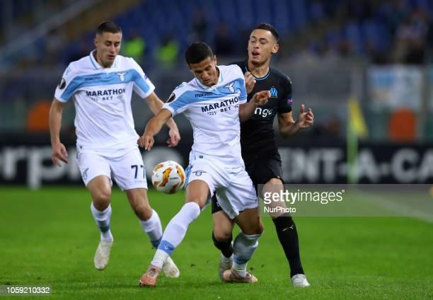 UEFA Europa League Group H Luiz Felipe of Lazio and Lucas Ocampos of Marseille at Olimpico Stadium in Rome Italy on November 8 2018