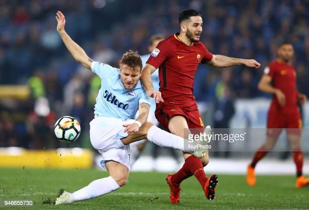 Lazio v Roma Serie A Konstantin Manolas of Roma tackling on Ciro Immobile of Lazio at Olimpico Stadium in Rome Italy on April 15 2018