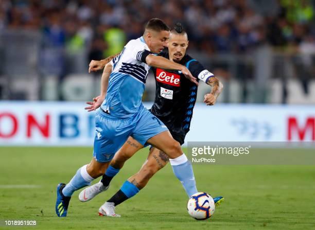 SS Lazio v SSC Napoli Serie A Adam Marusic of Lazio and Marek Hamsik of Napoli at Olimpico Stadium in Rome Italy on August 18 2018