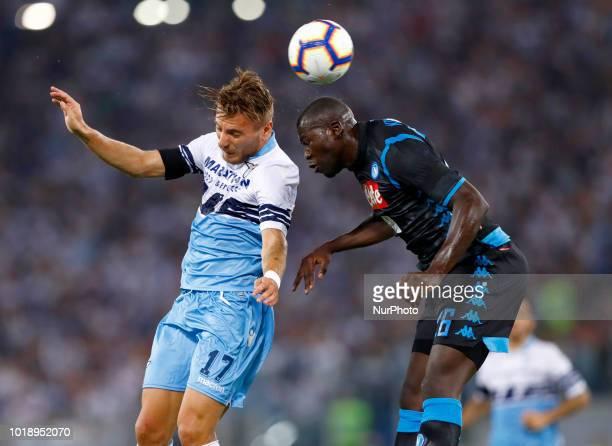 SS Lazio v SSC Napoli Serie A Ciro Immobile of Lazio and Kalidou Koulibaly of Napoli at Olimpico Stadium in Rome Italy on August 18 2018