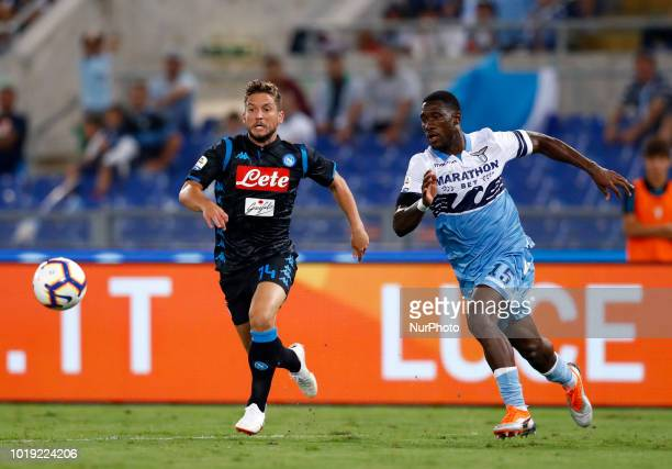 SS Lazio v SSC Napoli Serie A Dries Mertens of Napoli and Bastos of Lazio at Olimpico Stadium in Rome Italy on August 18 2018