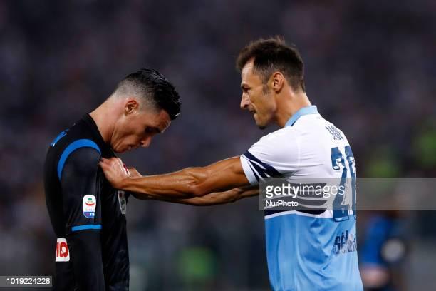 SS Lazio v SSC Napoli Serie A Jose Maria Callejon of Napoli and Stefan Radu of Lazio at Olimpico Stadium in Rome Italy on August 18 2018