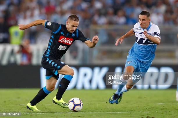 SS Lazio v SSC Napoli Serie A Marko Rog of Napoli and Adam Marusic of Lazio at Olimpico Stadium in Rome Italy on August 18 2018