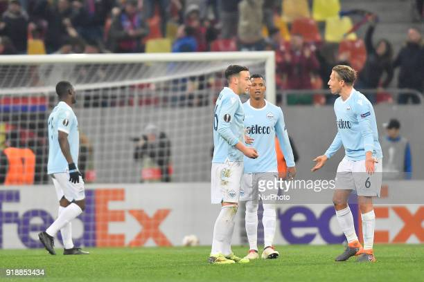 Lazio's Alessandro Murgia Nani and Lucas Leiva during UEFA Europa League Round of 32 match between Steaua Bucharest and Lazio at the National Arena...