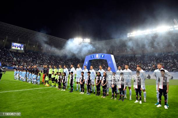 Lazio's and Juventus' players line up prior to the Italian Supercup match between Juventus and SS Lazio at King Saud University Stadium on December...