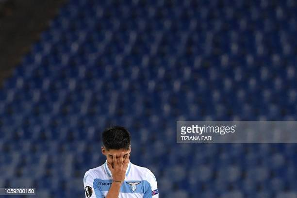 Lazio's Argentine forward Joaquin Correa celebrates after scoring during the UEFA Europa League group H football match Lazio Rome vs Marseille on...