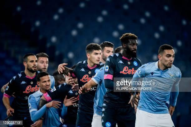 Lazio's Argentine midfielder Gonzalo Escalante, Napoli's French midfielder Tiemoue Bakayoko, Napoli's Italian defender Giovanni Di Lorenzo and others...