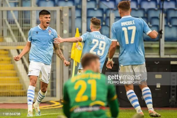 Lazio's Argentine midfielder Joaquin Correa celebrates after opening the scoring during the Italian Serie A football match Lazio Rome vs Lecce on...