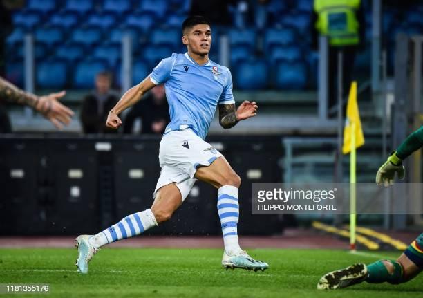 Lazio's Argentine midfielder Joaquin Correa shoots to score his team's 4th goal during the Italian Serie A football match Lazio Rome vs Lecce on...