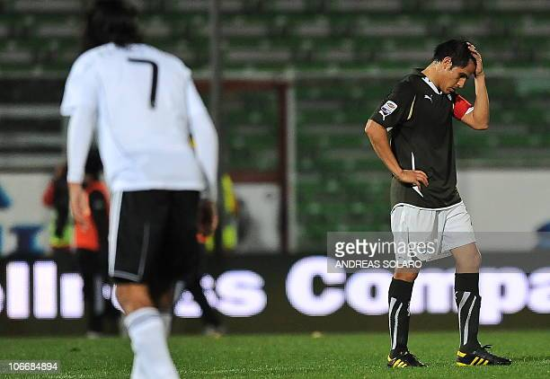 Lazio's Argentinian midfielder Cristian Ledesma reacts on November 10 2010 after his team lost its Italian Serie A football match against Cesena at...