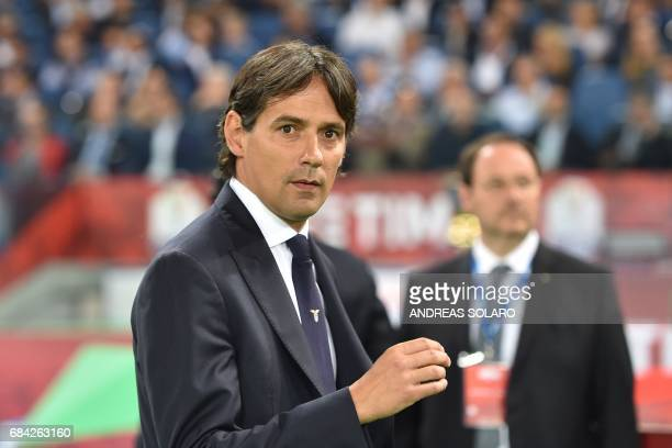 Lazio's coach from Italy Simone Inzaghi looks on before the Italian Tim Cup final on May 17 2017 at the Olympic stadium in Rome / AFP PHOTO / Andreas...