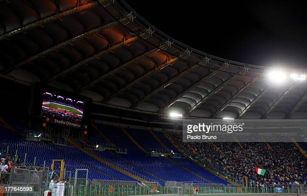 Lazio's 'Curva Nord' stand remains empty after the Italian Football Federation closed it for racist slogans aimed at Juventus players in Supercup...