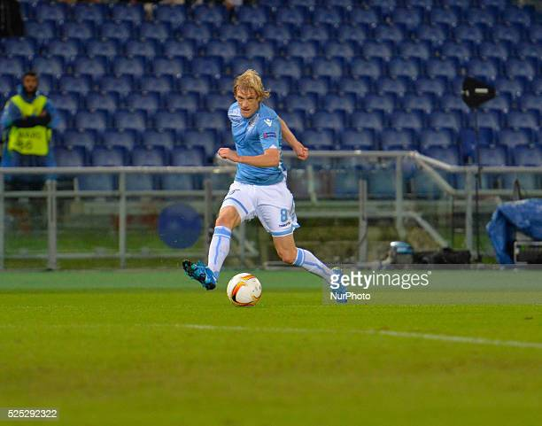 Lazio's defender Dusan Basta kicks the ball during the Europe League football match SS Lazio vs AS Saint��tienne at the Olympic Stadium in Rome on...