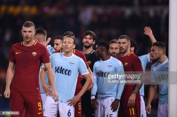 Lazio's defender from Brazil Lucas Leiva looks on before a corner during the Italian Serie A football match AS Roma vs Lazio on November 18 2017 at...