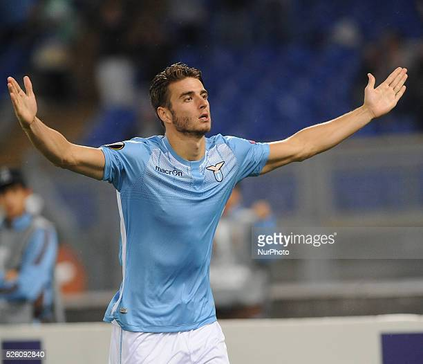 Lazio's defender Wesley Hoedt celebrates after scoring a goal 21 with teammates during the Europe League football match SS Lazio vs AS Saint��tienne...