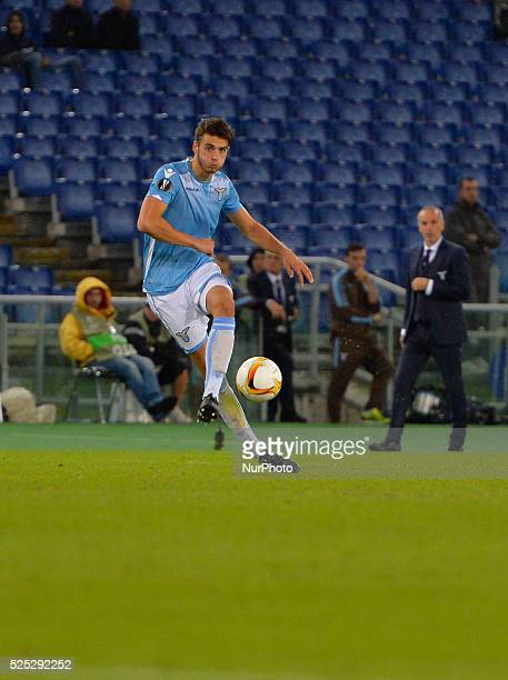 Lazio's defender Wesley Hoedt kicks the ball during the Europe League football match SS Lazio vs AS Saint��tienne at the Olympic Stadium in Rome on...