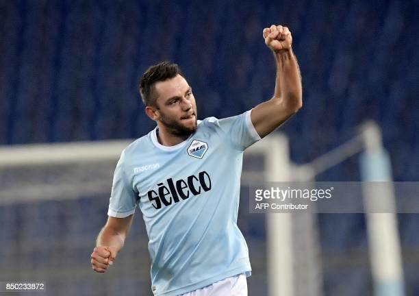 Lazio's Dutch defender Stefan de Vrij celebrates after scoring a goal during the Italian Serie A football match between Lazio and Napoli at Olympic...