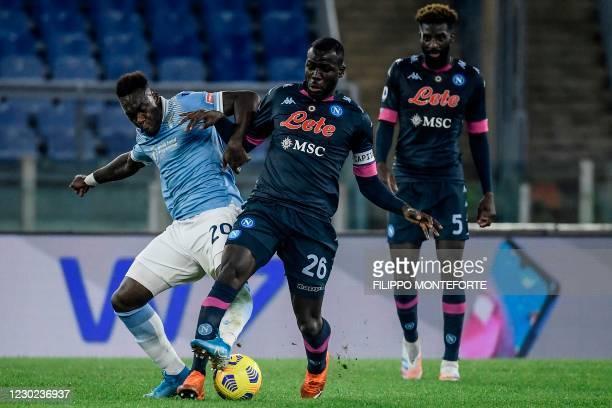 Lazio's Ecuadorian forward Felipe Caicedo and Napoli's Senegalese defender Kalidou Koulibaly go for the ball during the Italian Serie A football...