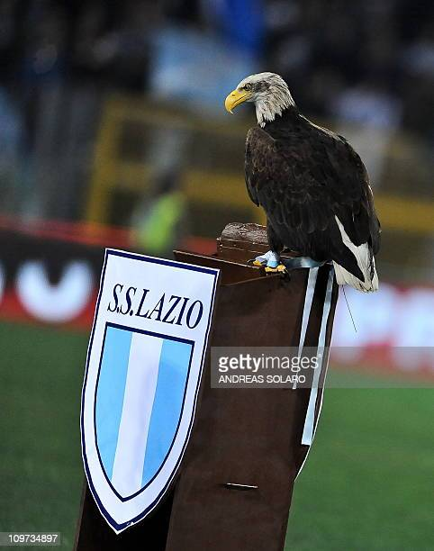 Lazio's emblem the eagle is displayed in the stadium before the Serie A football match against Inter Milan in Rome's Olympic Stadium on December 3...