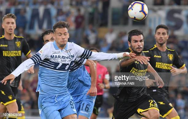 Lazio's forward Alessandro Murgia from Italy fights for the ball with Frosinone's defender Nicolo Brighenti from Italy during the Italian Serie A...