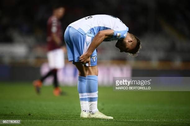 Lazio's forward Ciro Immobile reacts during the Italian Serie A football match Torino vs Lazio on April 29 2018 at the Grande Torino stadium in Turin