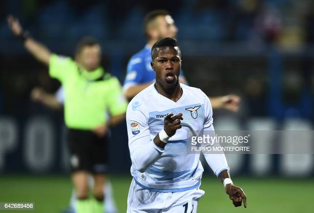 Lazio's forward from Senegal Balde Diao Keita celebrates after scoring during the italian Serie A football match Empoli vs Lazio at the Castellani...