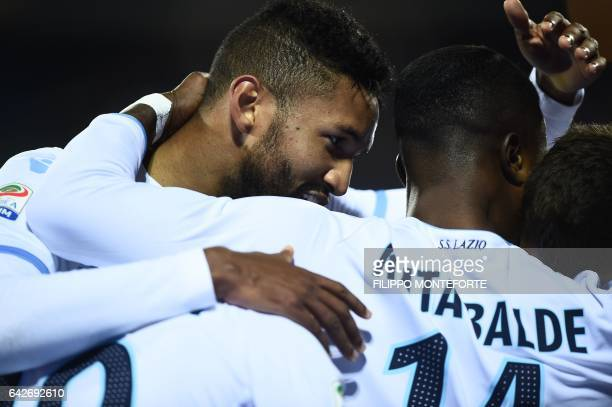 Lazio's forward from Senegal Balde Diao Keita celebrates after scoring with Lazio's defender from Brasil Wallace during the italian Serie A football...