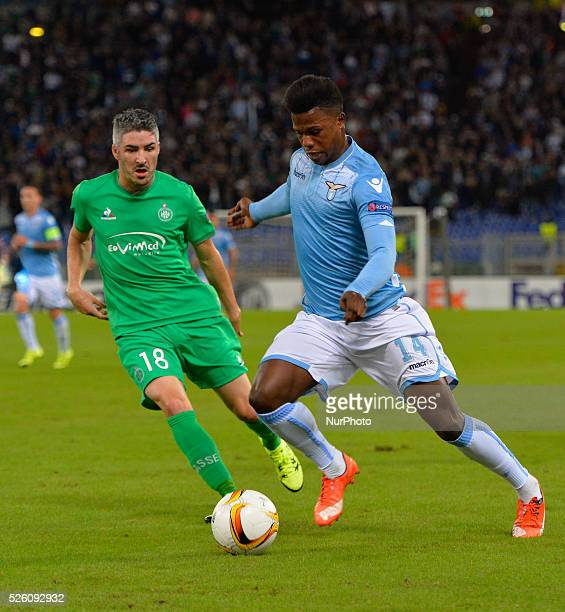 Lazio's forward Keita fights for the ball with St Etienne's defender Fabien Lemoine during the Europe League football match SS Lazio vs AS...