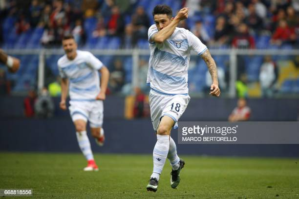 Lazio's forward Luis Alberto Romero Alconchel from Spain celebrates after scoring during the Italian Serie A football match Genoa Vs Lazio on April...