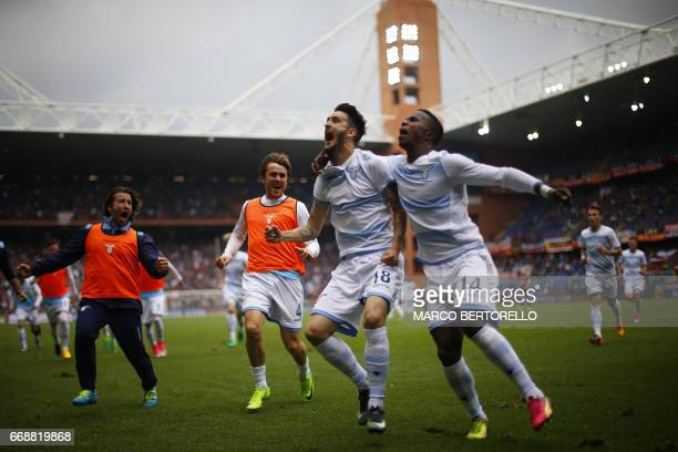 Lazio's forward Luis Alberto Romero Alconchel from Spain celebrates with teammates after scoring during the Italian Serie A football match Genoa Vs...