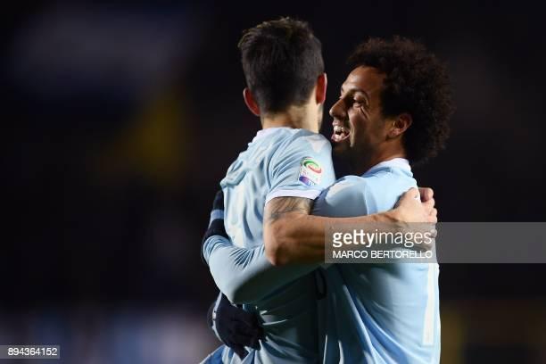 Lazio's forward Luis Alberto Romero Alconchel from Spain celebrates after scoring with Lazio's midfielder Felipe Anderson of Brazil during the...