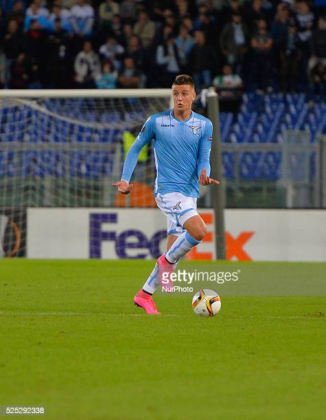 Lazio's forward Sergej Milinkocic Savic kicks the ball during the Europe League football match SS Lazio vs AS Saint��tienne at the Olympic Stadium in...