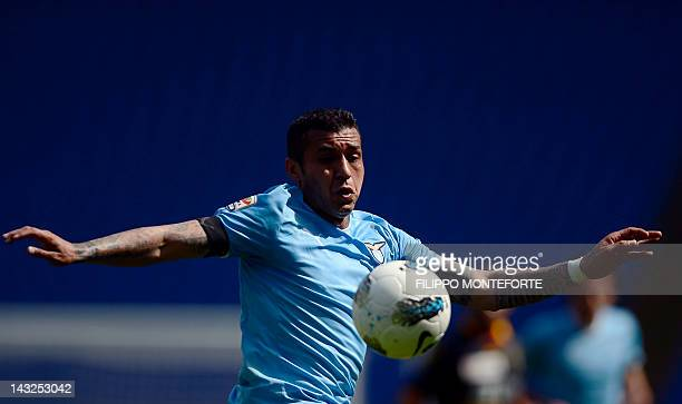 Lazio's Francelino Matuzalem controls the ball during a Italian Serie A football match between Lecce and SS Lazio at Rome's Olympic Stadium on April...