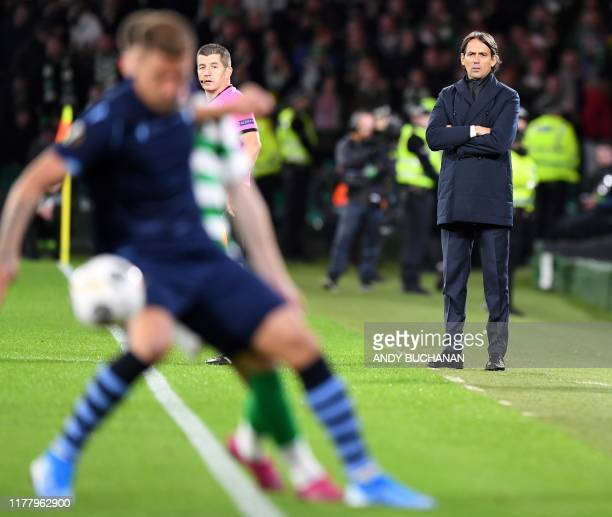 Lazio's Italian coach Simone Inzaghi watches his players from the touchline during the UEFA Europa League group E football match between Celtic and...