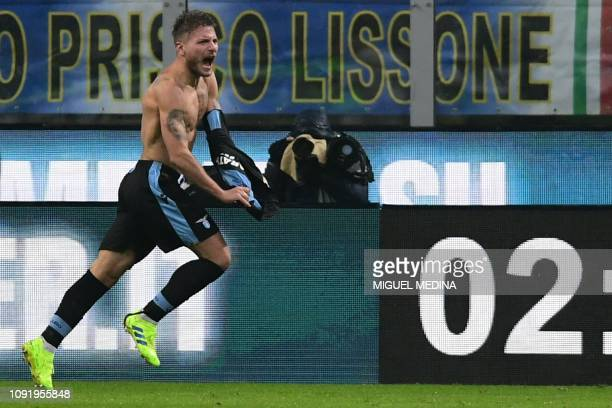 Lazio's Italian forward Ciro Immobile celebrates after opening the scoring during the Italian Tim Cup round of eight football match Inter Milan vs...