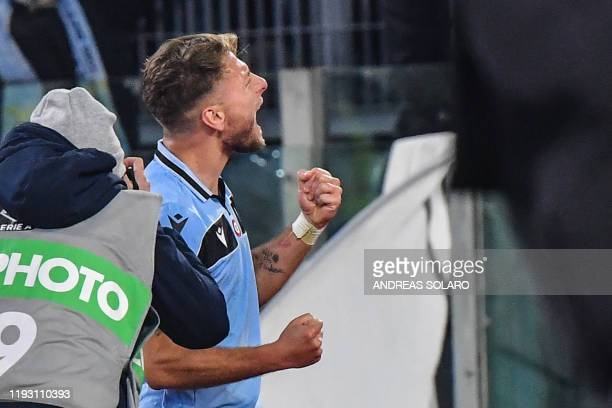 Lazio's Italian forward Ciro Immobile celebrates after opening the scoring during the Italian serie A football match Lazio Rome vs Napoli on January...