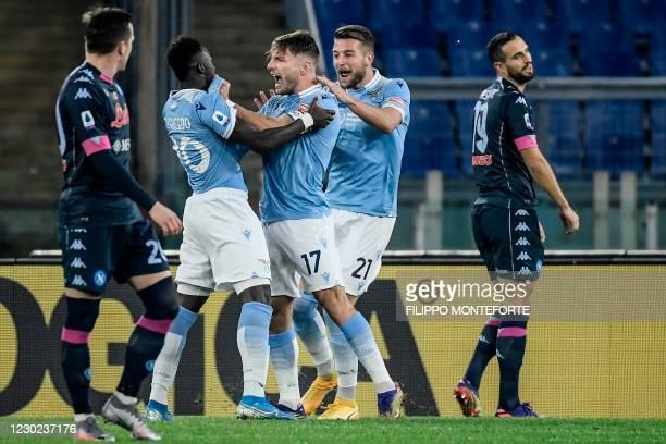 Lazio's Italian forward Ciro Immobile celebrates after opening the scoring during the Italian Serie A football match Lazio vs Napoli on December 20,...