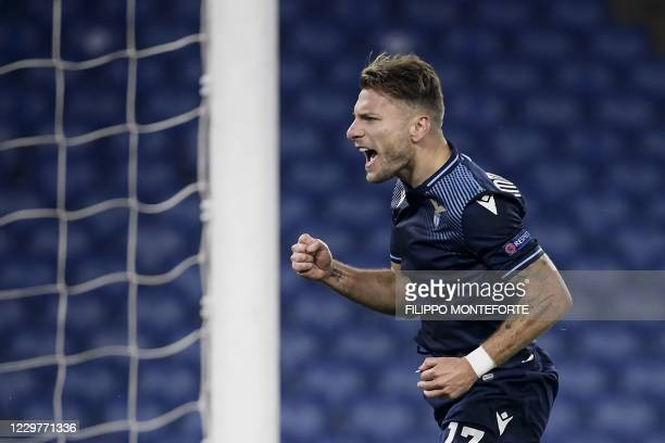 Lazio's Italian forward Ciro Immobile celebrates after scoring a goal during the UEFA Champions League Group F football match between Lazio Rome and...