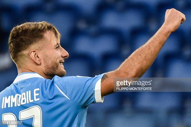 Lazio's Italian forward Ciro Immobile celebrates after scoring a penalty during the Italian Serie A football match Lazio Rome vs Lecce on November 10...