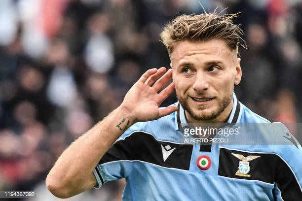 Lazio's Italian forward Ciro Immobile celebrates after scoring a penalty during the Italian Serie A football match Lazio Rome vs Sampdoria on January...