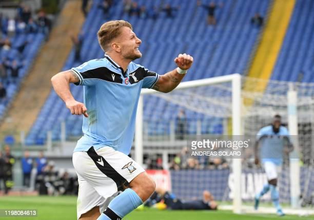 Lazio's Italian forward Ciro Immobile celebrates after scoring his second goal during the Italian Serie A football match Lazio Rome vs Spal on...
