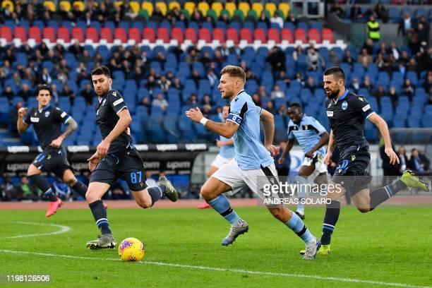 Lazio's Italian forward Ciro Immobile runs with the ball during the Italian Serie A football match Lazio Rome vs Spal on February 2 2020 at the...