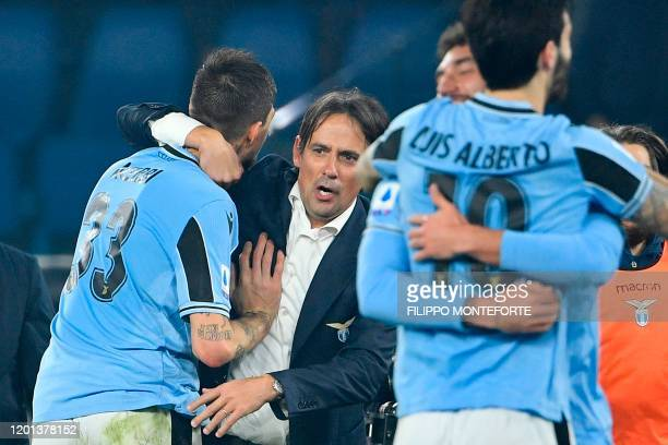 Lazio's Italian head coach Simone Inzaghi celebrates at the end of the Italian Serie A football match Lazio Rome vs Inter Milan on February 16 2020...