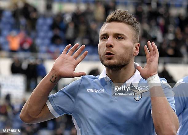 Lazio's Italian midfielder Ciro Immobile celebrates after scoring a goal during the Serie A football match between Lazio and Atalanta at the Olympic...